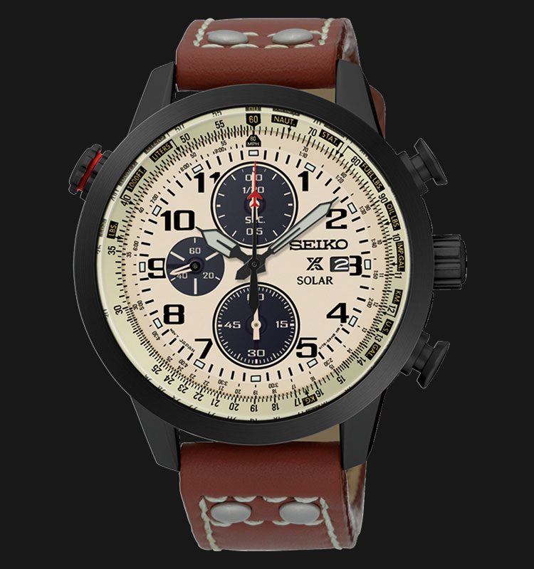 Seiko Prospex SSC425P1 Sky Solar Chronograph Beige Dial Brown Leather Strap Machtwatch