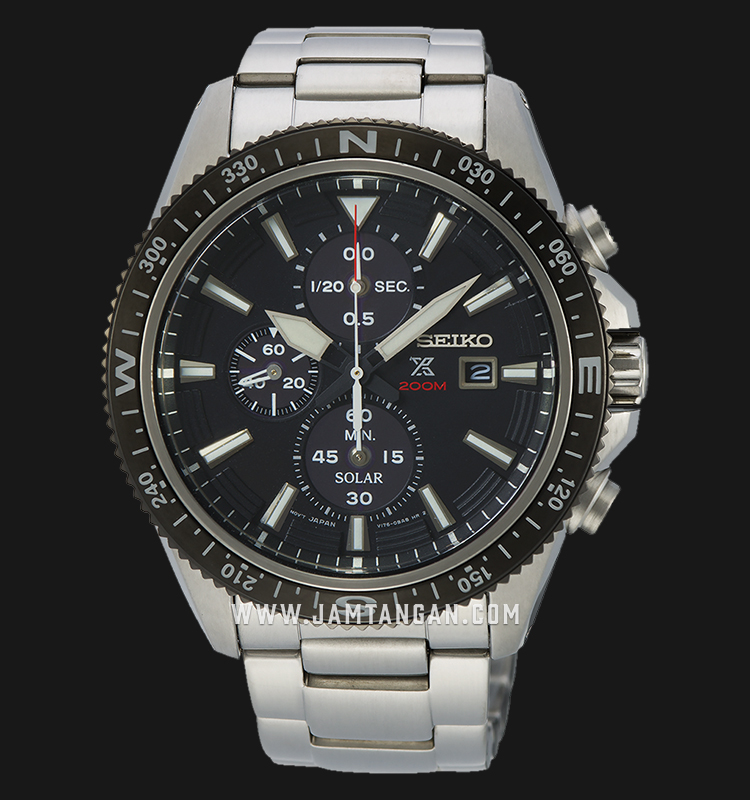 Seiko Prospex Land SSC705P1 Chronograph Solar 200M Water Resistance Black Dial Stainless Steel Strap Machtwatch