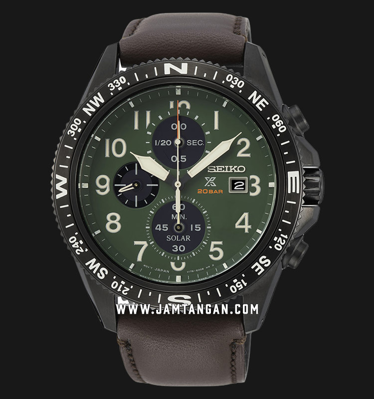 Seiko Prospex Land SSC739P1 Chronograph Solar 200M Water Resistance Green Dial Brown Leather Strap Machtwatch