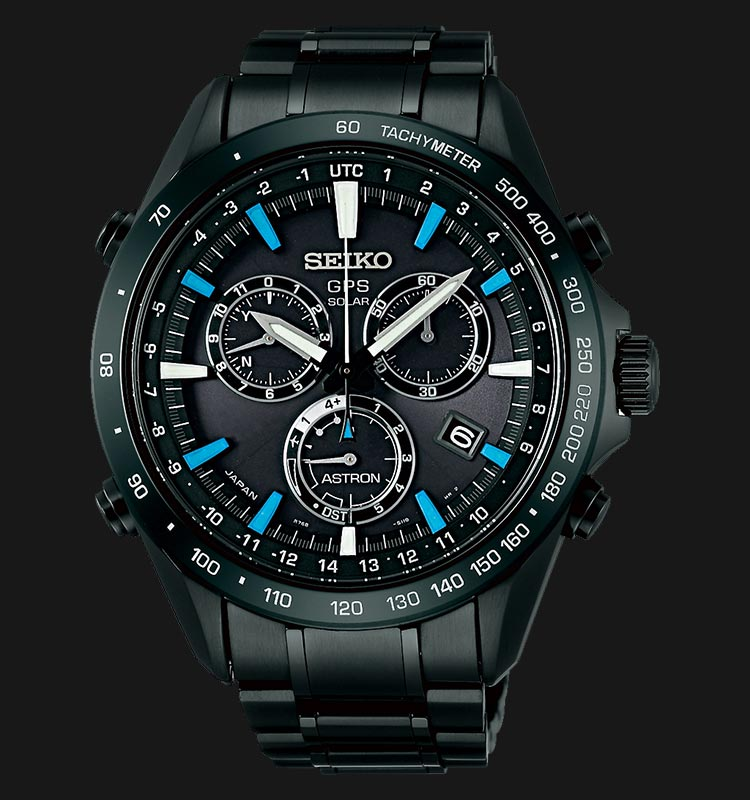 Seiko Astron SSE013J1 GPS Solar Chronograph 8X Series Black Stainless Steel Machtwatch