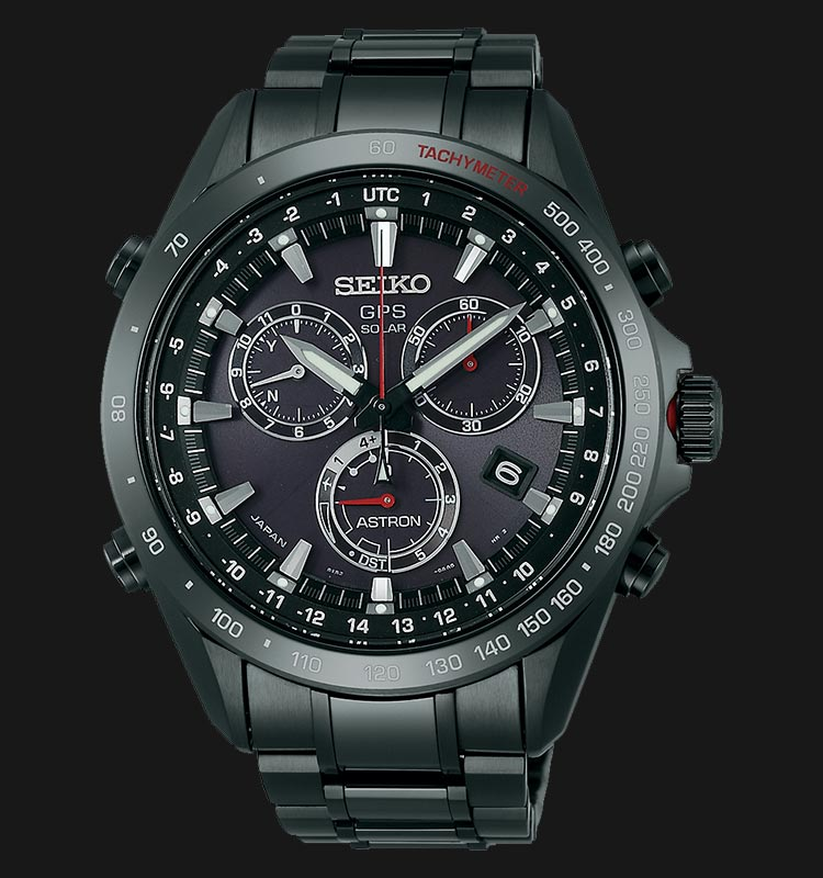 Seiko Astron SSE031J GPS Solar Chronograph 8X Series Black Stainless Steel Machtwatch