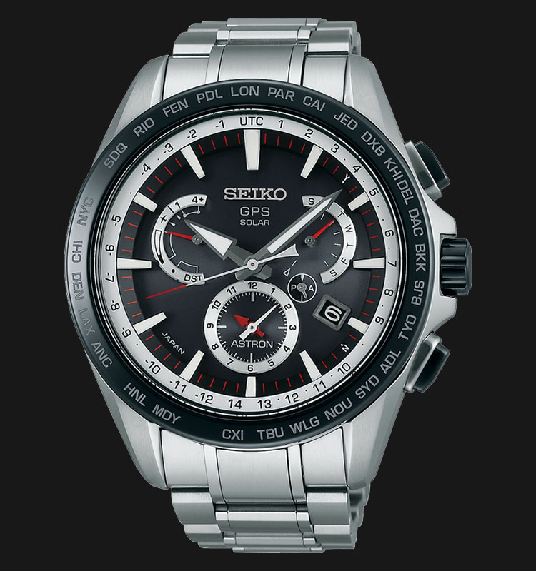 Seiko Astron SSE051J1 GPS Solar 8X Series Dual Time Stainless Steel Machtwatch