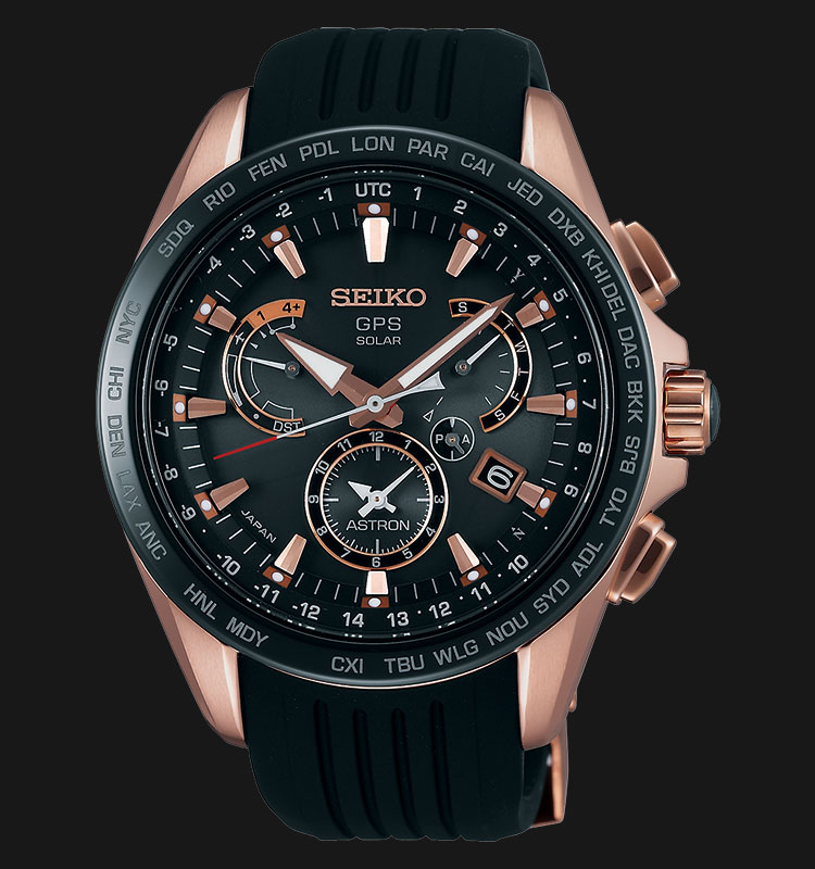 Seiko Astron SSE055J1 GPS Solar 8X Series Dual Time Stainless Steel Machtwatch