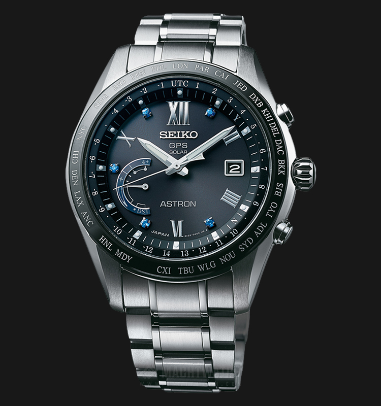 Seiko Astron Limited Edition GPS Solar World Time SSE117J1 Men Black Dial Titanium Strap Machtwatch