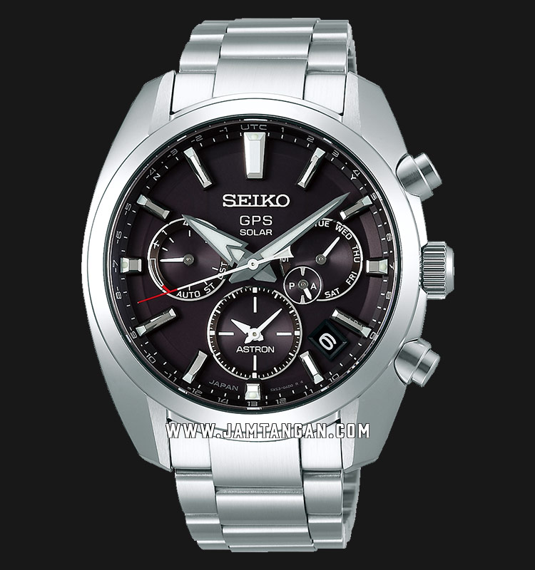 Seiko Astron SSH021J1 Men GPS Solar Black Dial Stainless Steel Strap Machtwatch