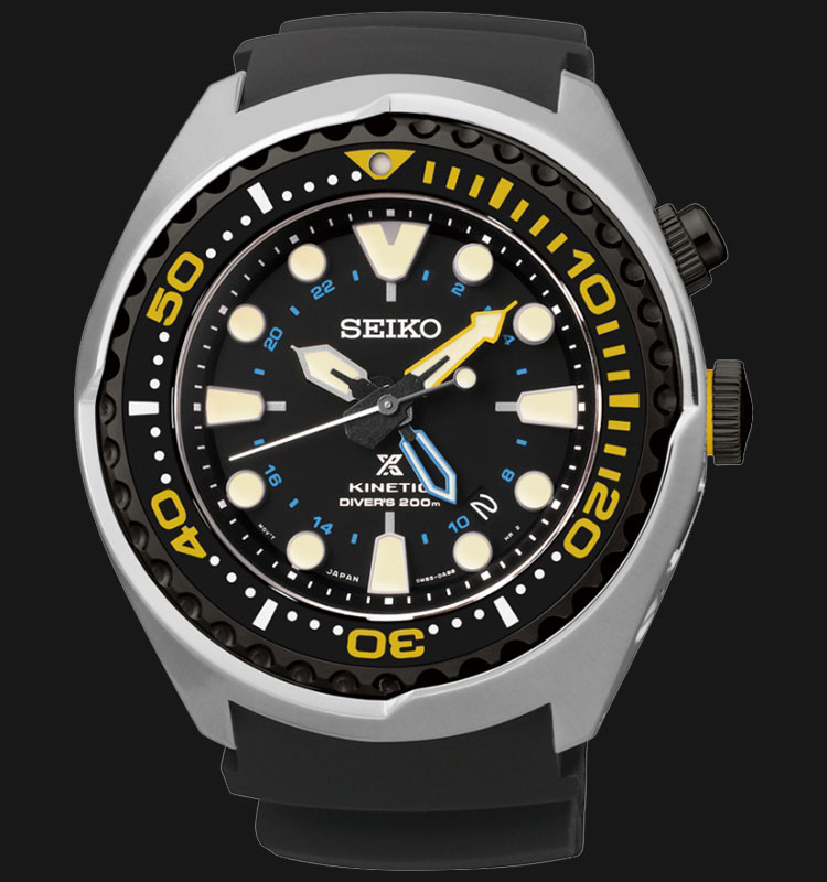 Seiko Prospex SUN021P1 Kinetic GMT Divers 200M Stainless Steel Case Machtwatch