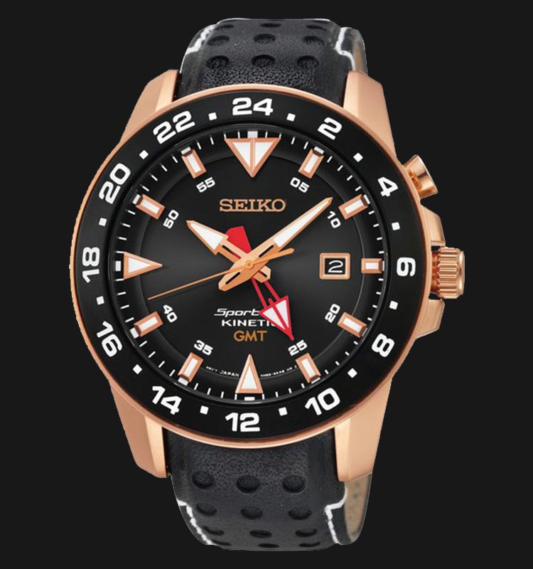 Seiko SUN028P1 Sportura Kinetic GMT Function Black Dial Black Leather Strap Machtwatch