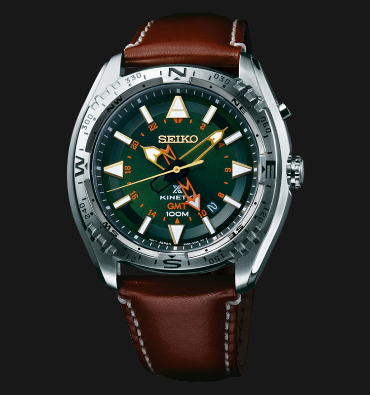 Seiko Prospex SUN051P1 Land Kinetic GMT 100M Brown Leather Strap Machtwatch