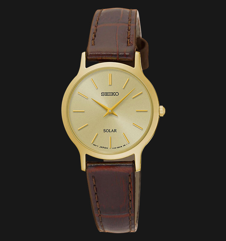 Seiko Solar SUP302P1 Woman Gold Dial Brown Genuine Leather Strap Machtwatch