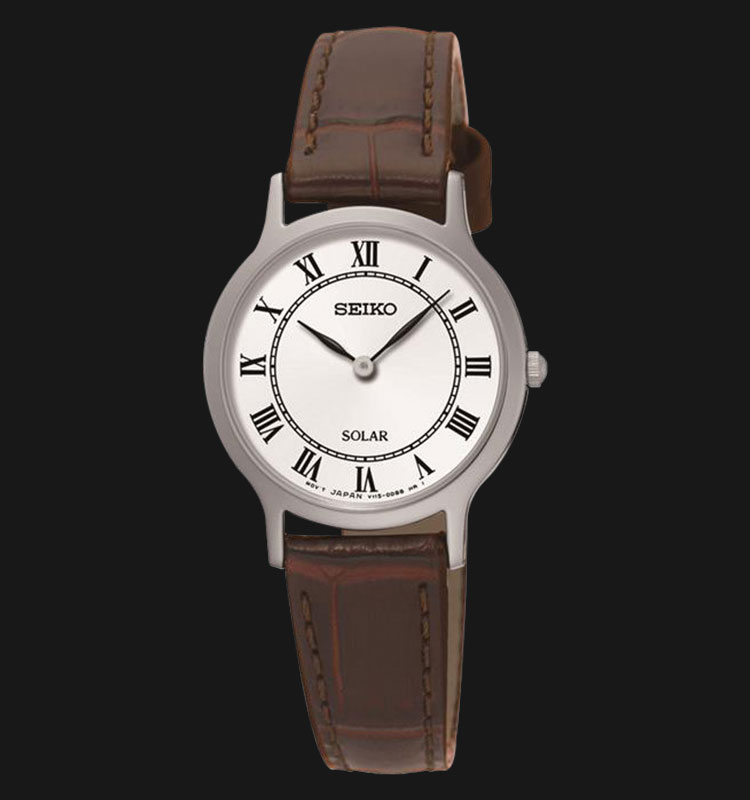 Seiko Solar SUP303P1 Woman White Dial Brown Genuine Leather Strap Machtwatch