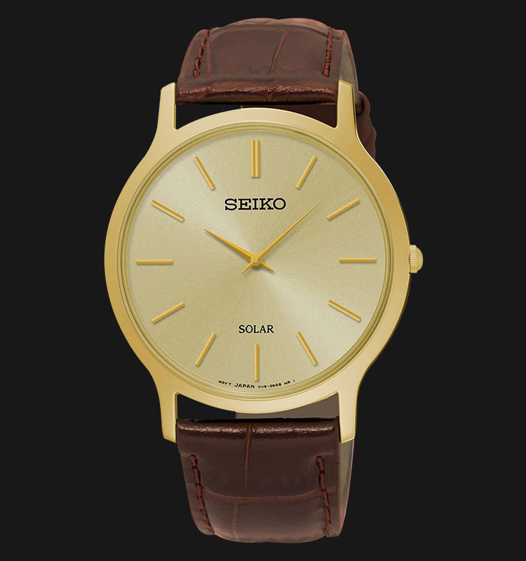 Seiko Solar SUP870P1 Man Gold Dial Brown Genuine Leather Strap Machtwatch