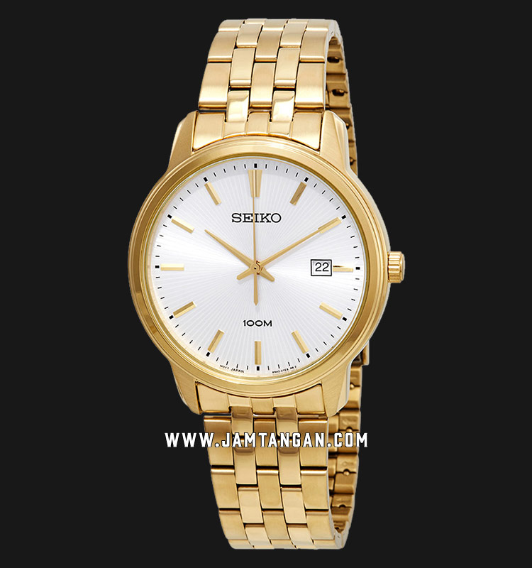Seiko Neo Classic SUR264P1 Men Silver Dial Gold Stainless Steel Strap Machtwatch