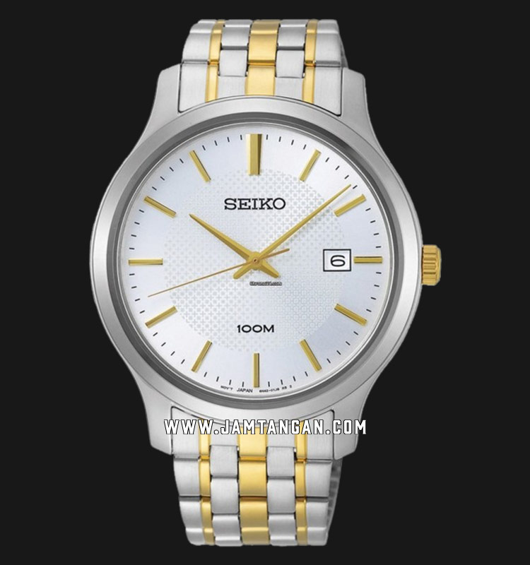 Seiko Neo SUR295P1 Classic White Dial Dual Tone Stainless Steel Strap Machtwatch