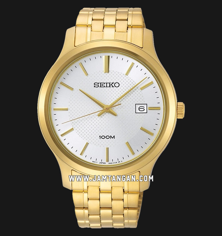 Seiko Neo SUR296P1 Classic White Dial Gold Stainless Steel Strap Machtwatch