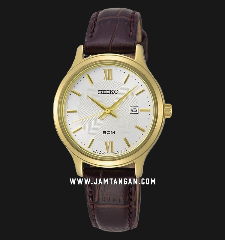 Seiko Neo SUR644P1 Classic Ladies White Dial Brown Leather Strap Machtwatch