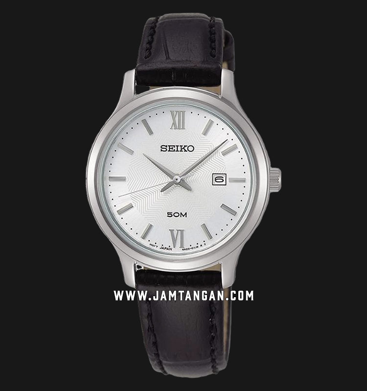Seiko Neo SUR645P1 Classic Ladies White Dial Black Leather Strap Machtwatch