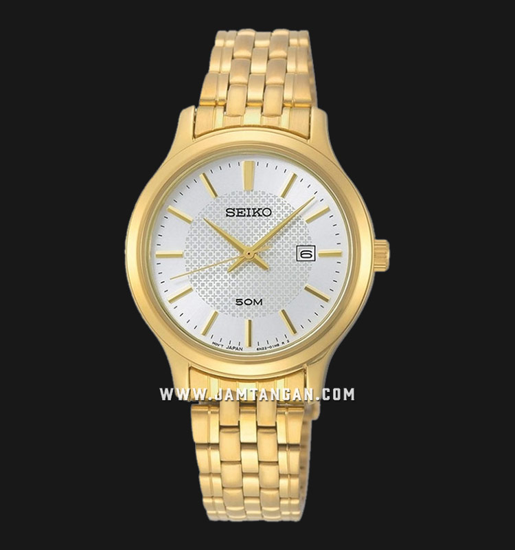 Seiko Neo SUR646P1 Classic Ladies White Dial Gold Stainless Steel Strap Machtwatch