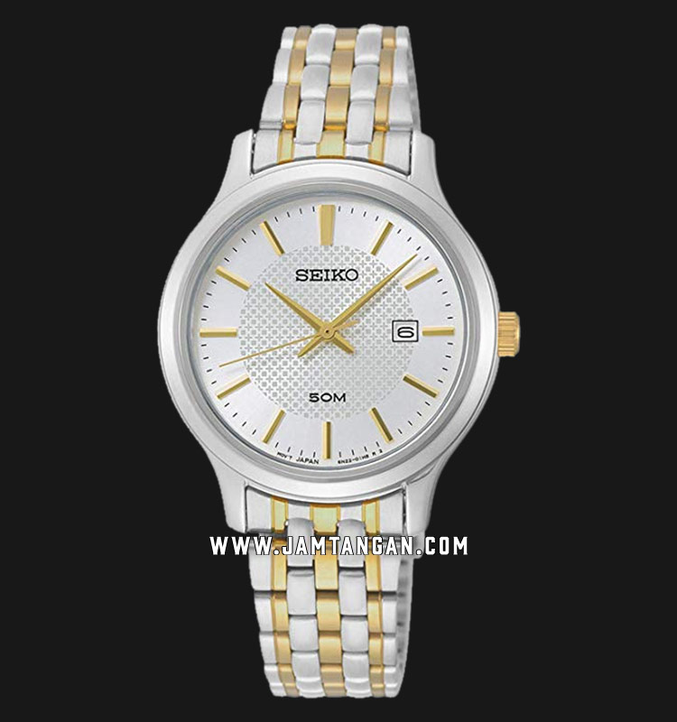 Seiko Neo SUR647P1 Classic Ladies White Dial Dual Tone Stainless Steel Strap Machtwatch