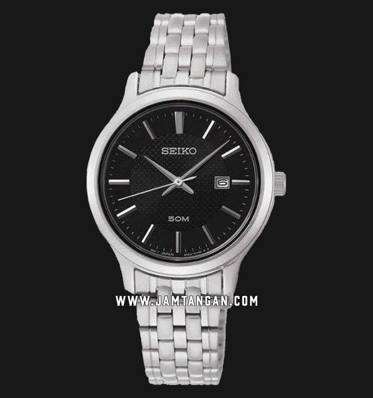 Seiko Neo SUR649P1 Classic Ladies Black Dial Stainless Steel Strap Machtwatch