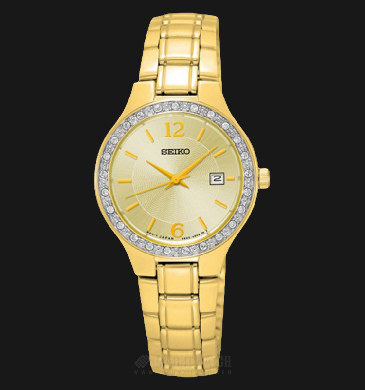 Seiko Ladies SUR782P1 Gold Dial with Diamond Bezel Stainless Steel Bracelet Machtwatch