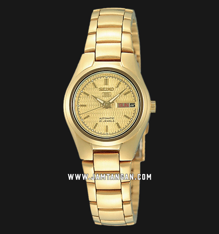 Seiko 5 SYMC18K1 Automatic Ladies Gold Dial Gold Stainless Steel Strap Machtwatch