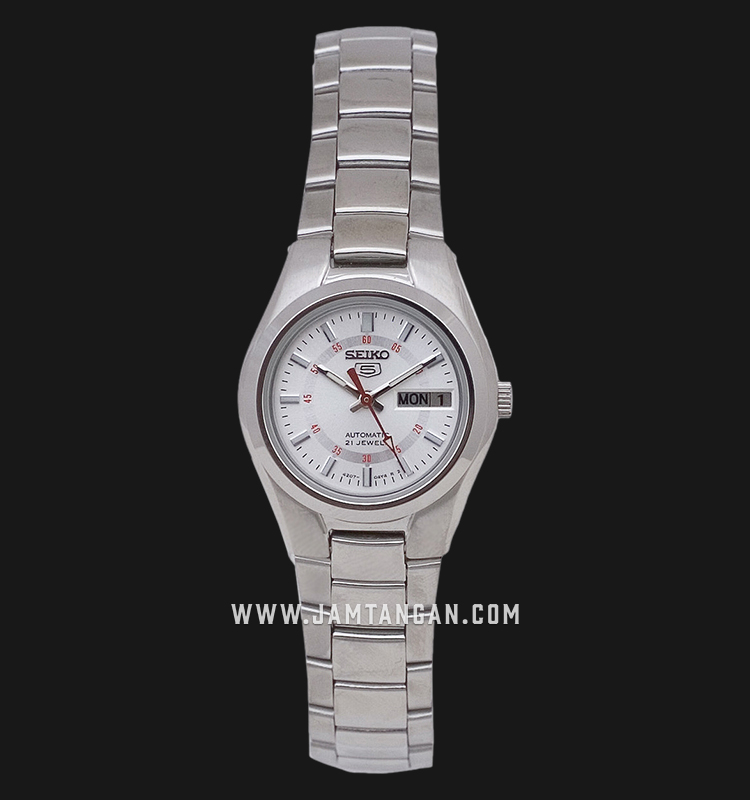 Seiko 5 SYMC21K1 Automatic Ladies Silver Dial Stainless Steel Strap Machtwatch