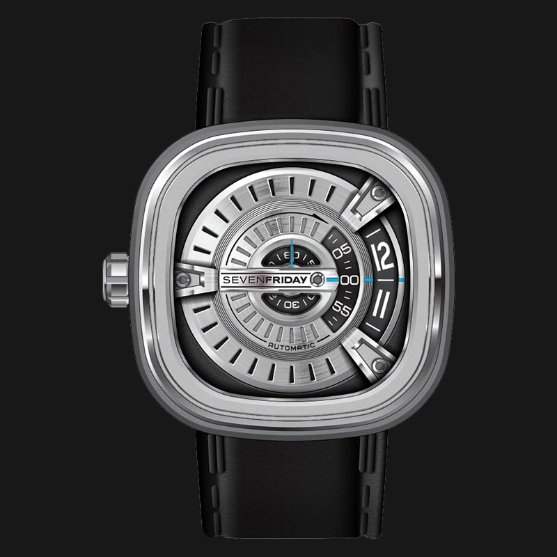 SEVENFRIDAY M1/01 M-Series Automatic Miyota 8215 Black Calfskin Leather Machtwatch