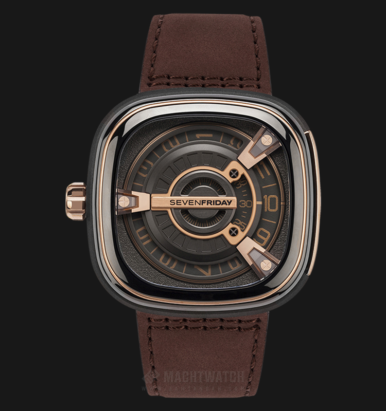 SEVENFRIDAY M2/02 M-Series Automatic Black Brown Leather Strap Machtwatch