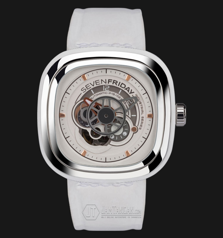 SEVENFRIDAY P1B/02 P-Series Automatic Miyota 8S27 White Calf Skin Leather Strap Machtwatch