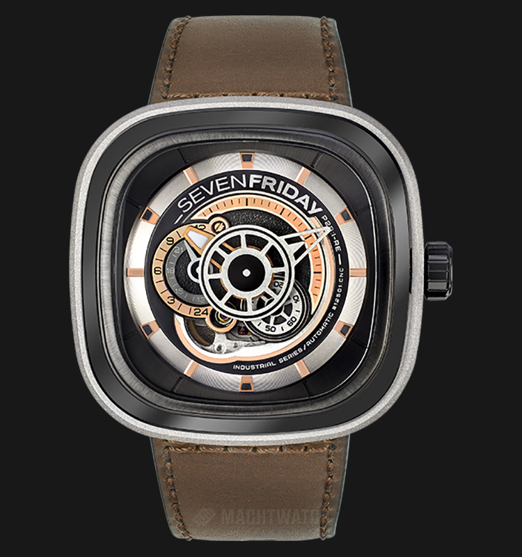 SEVENFRIDAY P2B/01 Industrial Revolution Series Automatic Brown Leather Strap Machtwatch