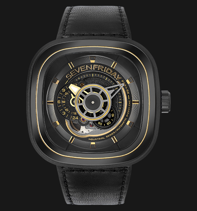 SEVENFRIDAY P2B/02 Industrial Revolution Series Automatic Black Leather Strap Machtwatch