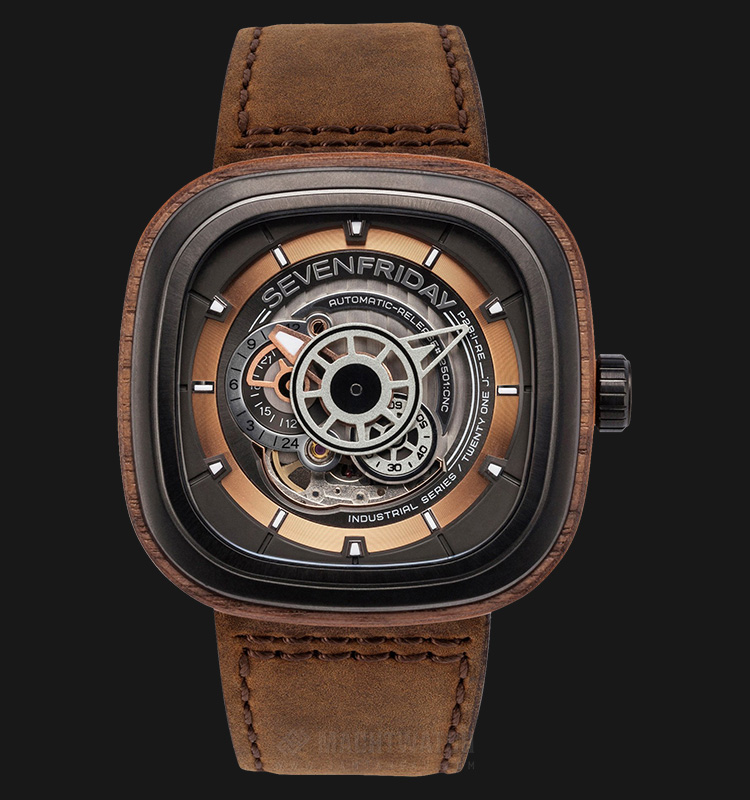 SEVENFRIDAY P2B/03-W Woody Limited Edition Series Automatic Brown Leather Strap Machtwatch