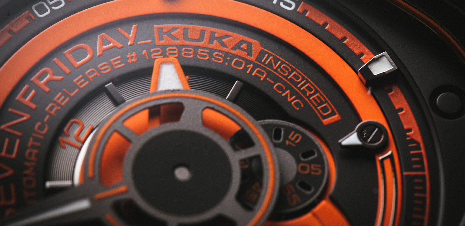 SEVENFRIDAY P3/07 KUKA III Limited Edition Series Automatic Orange Rubber Strap Machtwatch