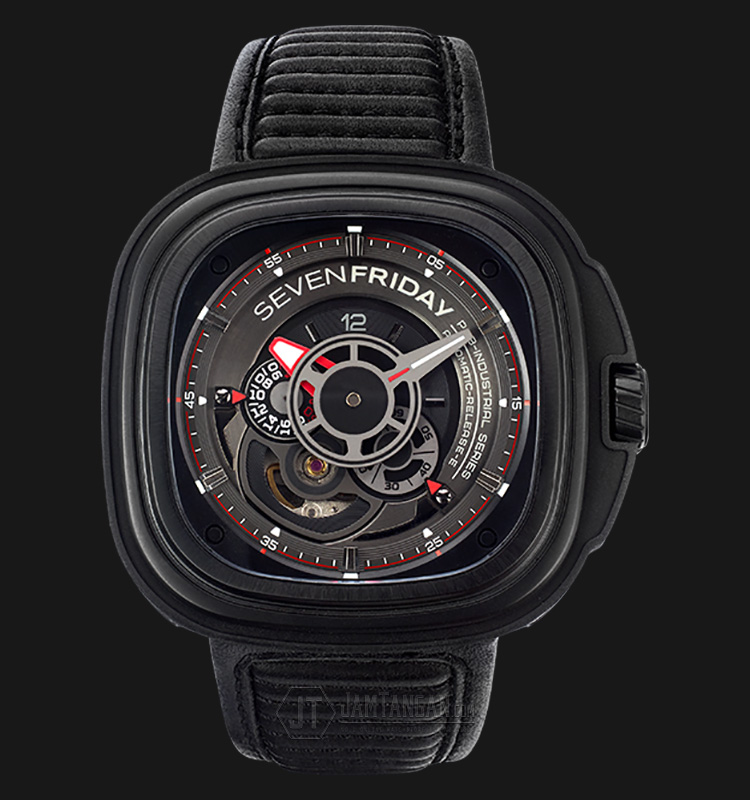 SEVENFRIDAY P3B/01 P-Series Automatic Miyota 8S27 Black Leather Strap Machtwatch