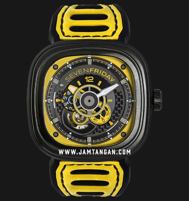 SEVENFRIDAY P3B/03 P-Series Engine Racing Team Yellow Automatic Dual Color Leather Strap Machtwatch