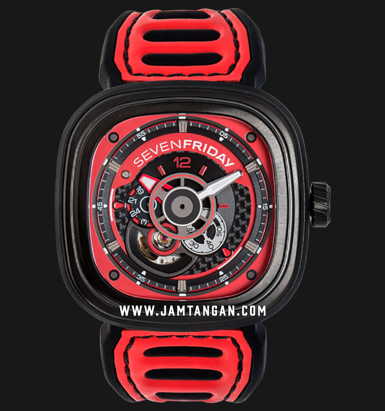 SEVENFRIDAY P3B/06 P-Series Engine Racing Team Red Automatic Dual Color Leather Strap Machtwatch