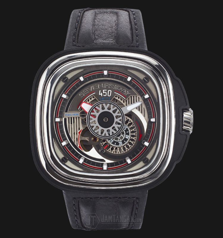 SEVENFRIDAY P3C/01 Hot Rod Limited Edition Automatic Black Leather Strap Machtwatch