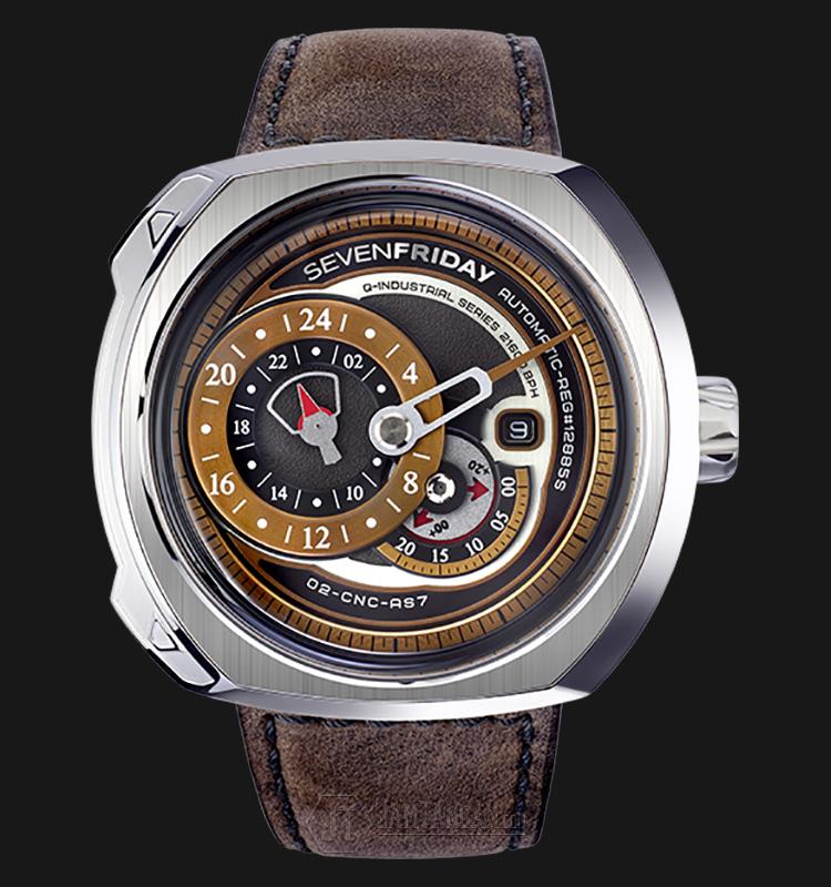 SEVENFRIDAY Q2/01 Q-Series Automatic Miyota 8219 Brown Leather Strap Machtwatch