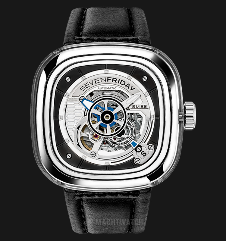 SEVENFRIDAY S1/01 Series Automatic Black Leather Strap Machtwatch
