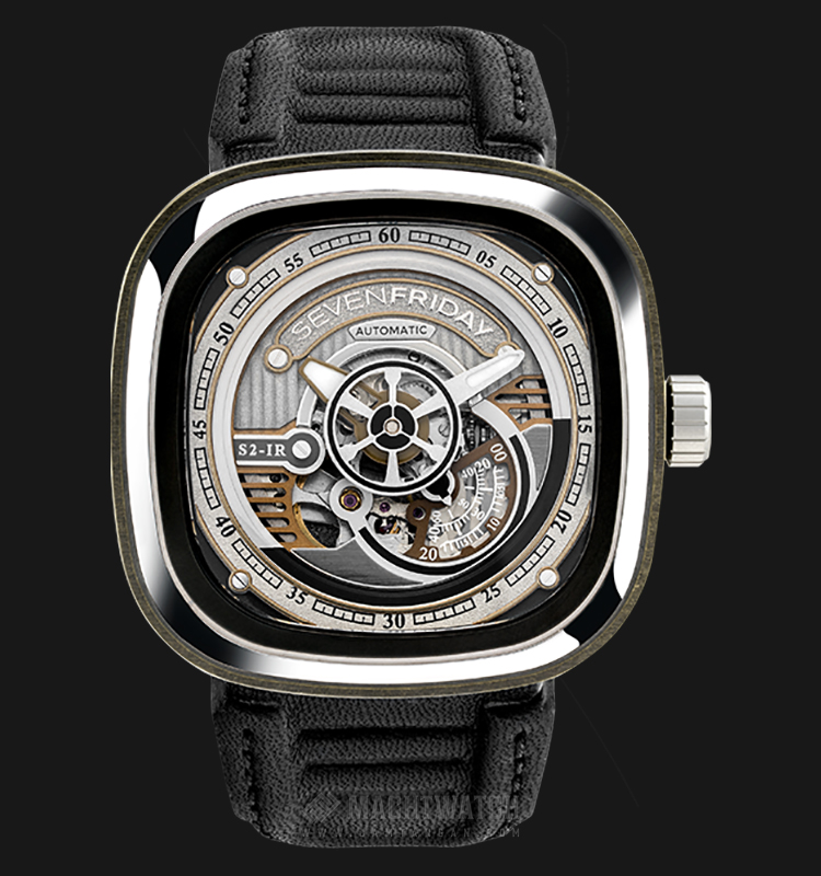 SEVENFRIDAY S2/01 Series Automatic Black Leather Strap Machtwatch