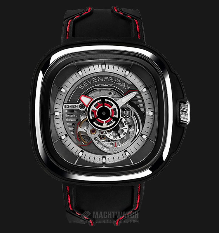 SEVENFRIDAY S3/01 Series Automatic Black Silicone Strap with Red Stitching Machtwatch