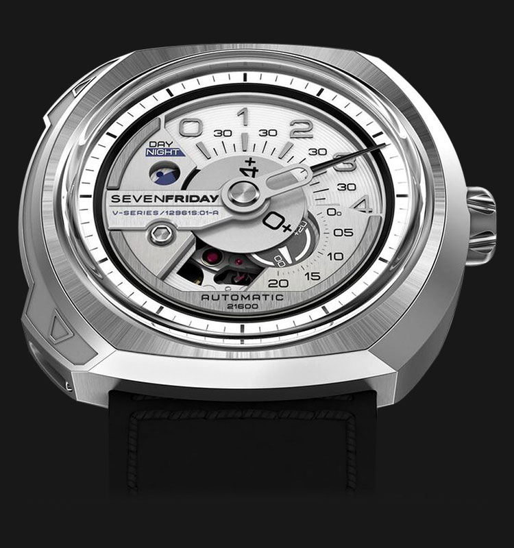 SEVENFRIDAY V1/01 V-Series Automatic Silver Black Leather Strap Machtwatch