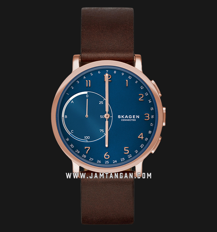 Skagen Hagen Connected SKT1103 Hybrid Smartwatch Blue Dial Brown Leather Strap Machtwatch