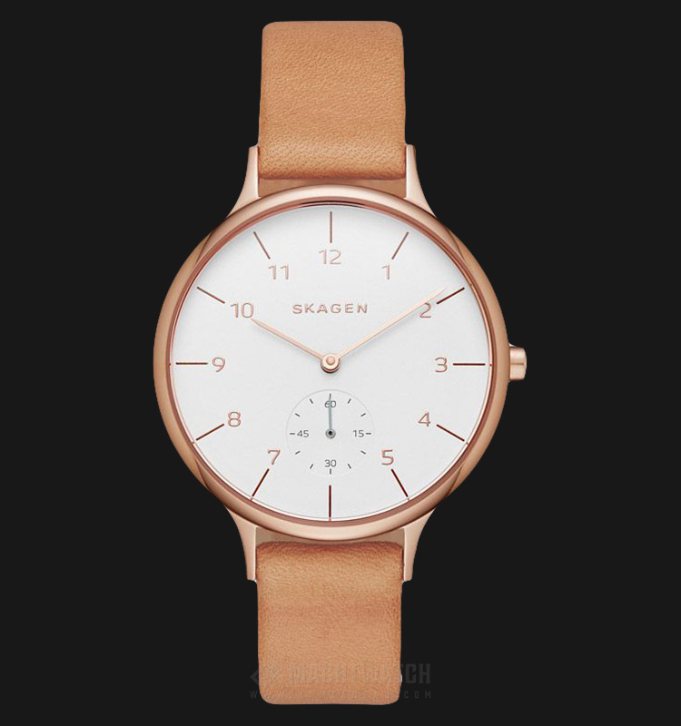 Skagen SKW2405 Anita Ladies White Dial Light Brown Leather Strap Machtwatch