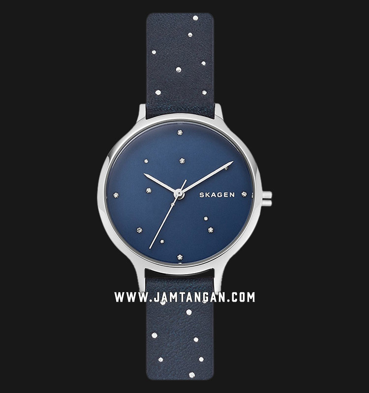 Skagen Anita SKW2762 Constellation Blue Dial Blue Leather Strap Machtwatch