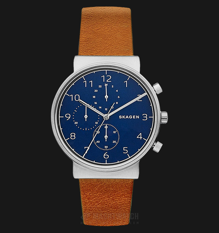 Skagen SKW6358 Ancher Men Blue Dial Brown Leather Strap Machtwatch