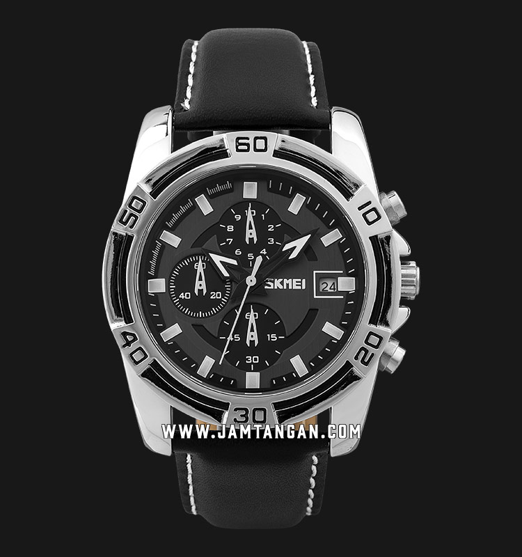 Skmei 9156SI Men Black Dial Black Leather Strap Machtwatch