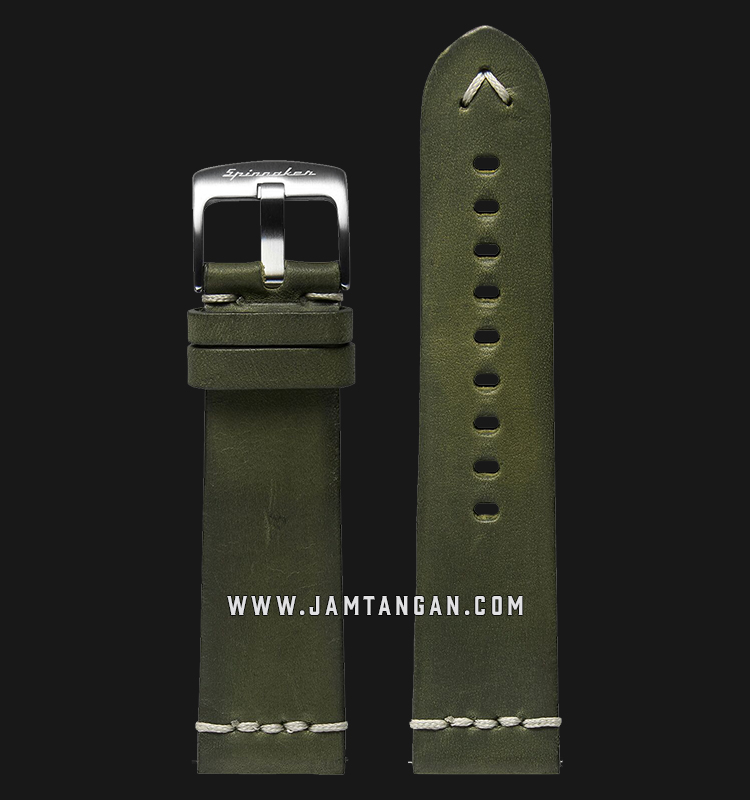 Strap Spinnaker Marino Italian Made 22mm Green Olive Leather SP-STRAP22-L01 Machtwatch