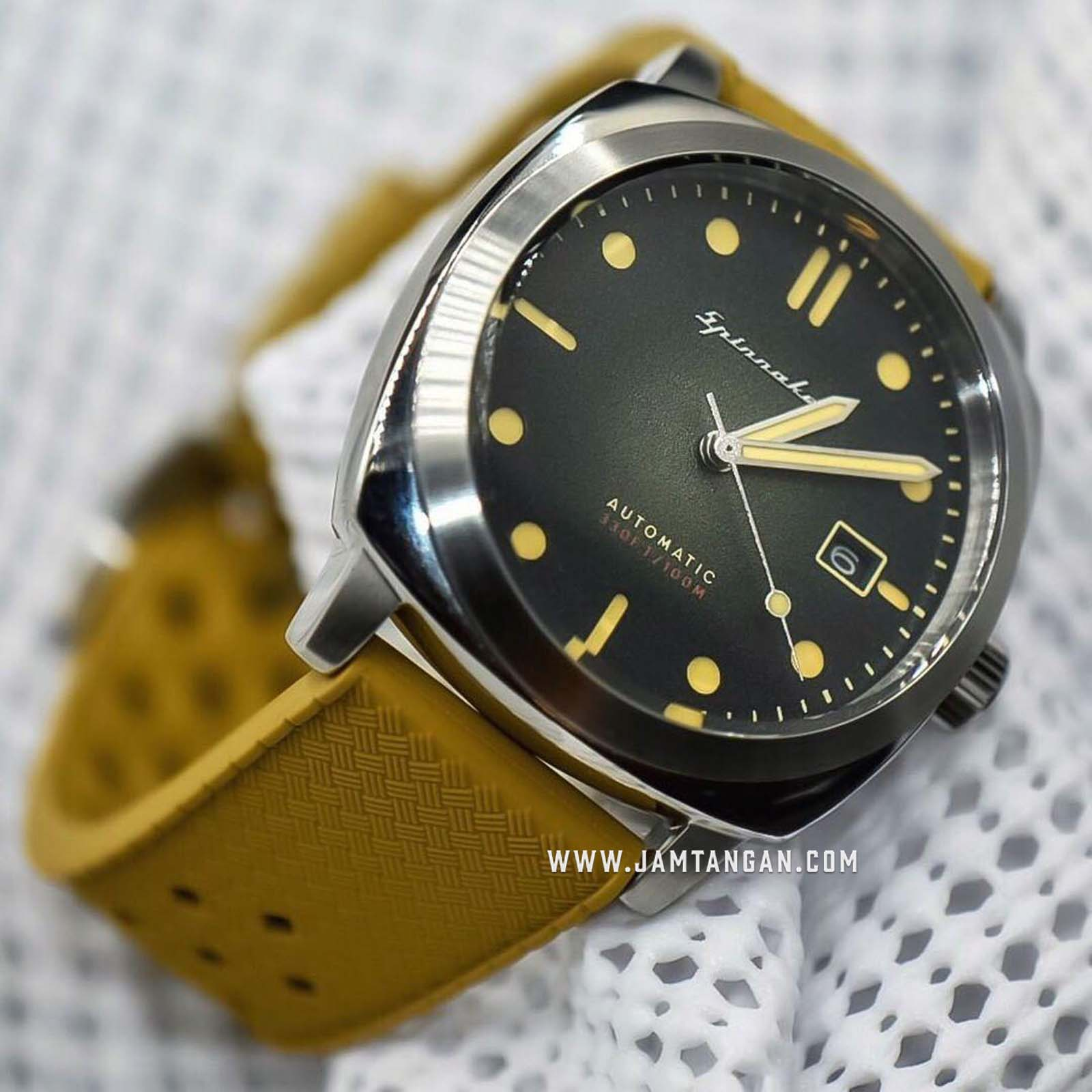 Spinnaker SP-5059-03 Vintage Hull Men Green Dial Green Leather Strap Machtwatch