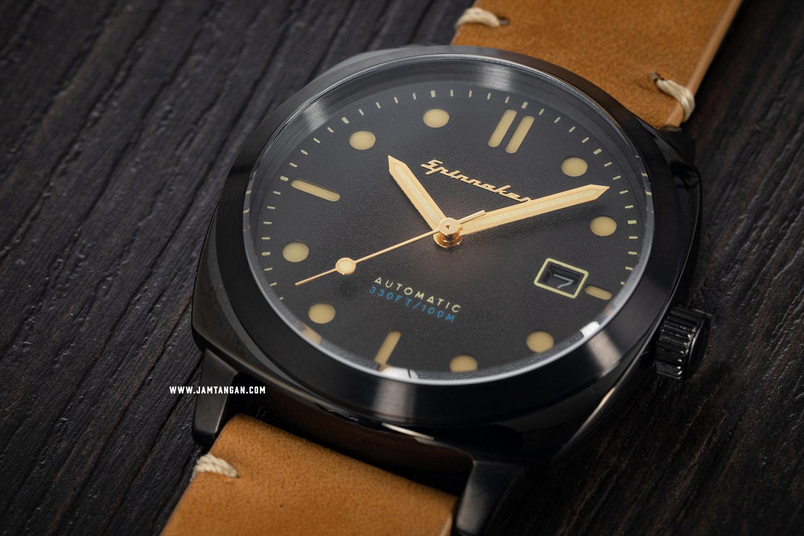 Spinnaker SP-5059-04 Vintage Hull Men Black Dial Brown Leather Strap Machtwatch